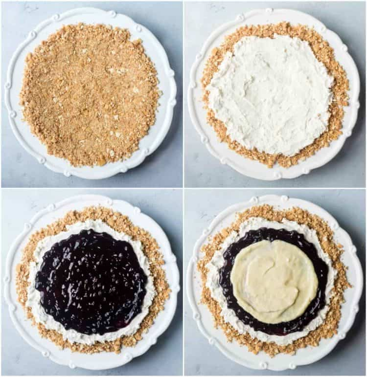 How to prepare the layers for this Vanilla wafers blueberry dessert recipe.