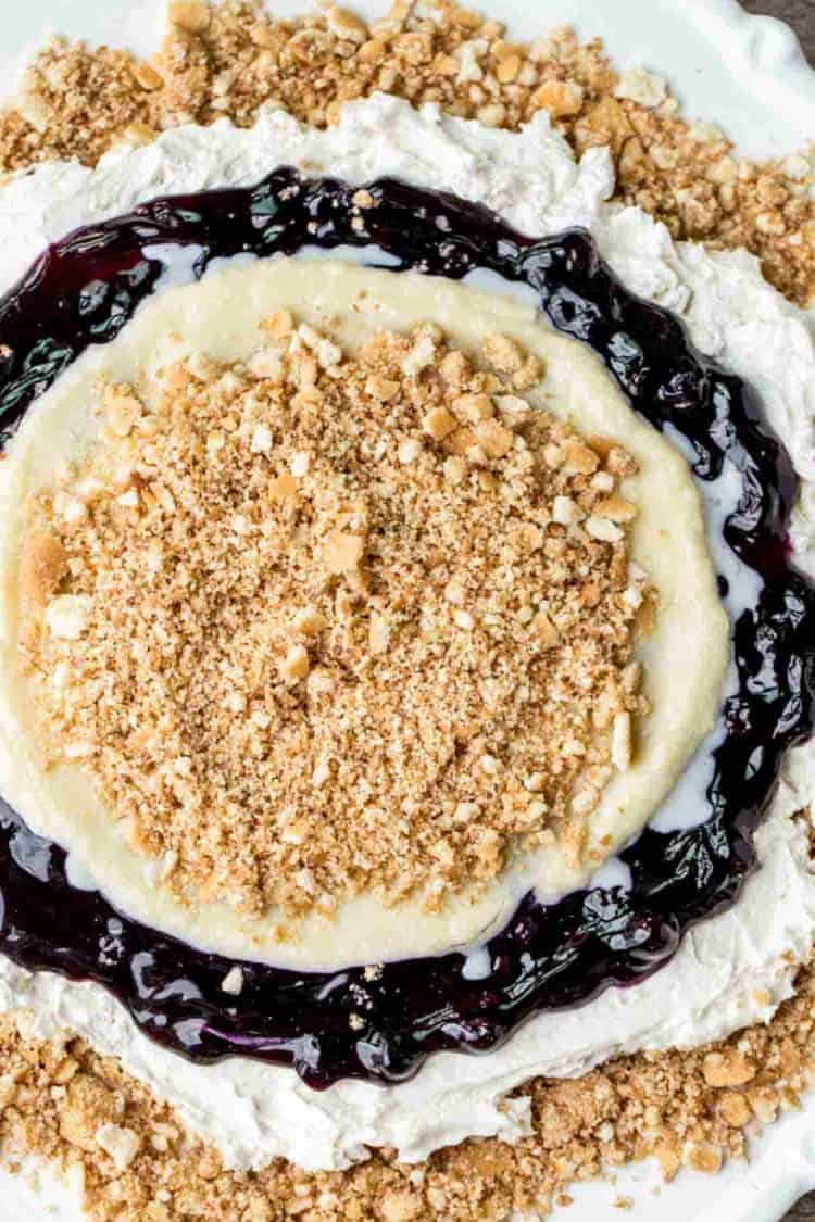 Simple no bake blueberry dessert on a platter with vanilla wafers.
