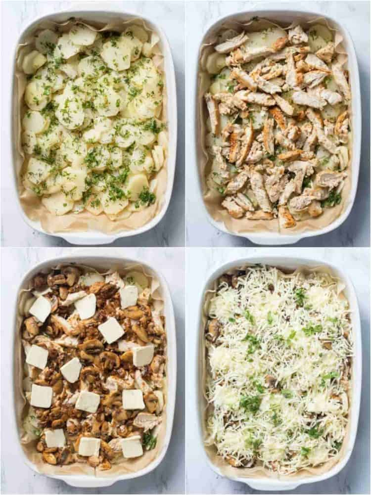 How to assemble this delicious potato casserole with chicken, mushroom and cheese.