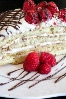 layered cake with raspberries