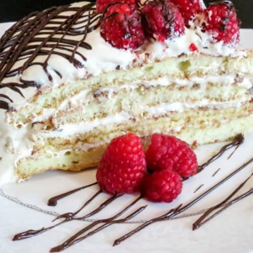 layered cake with raspberries