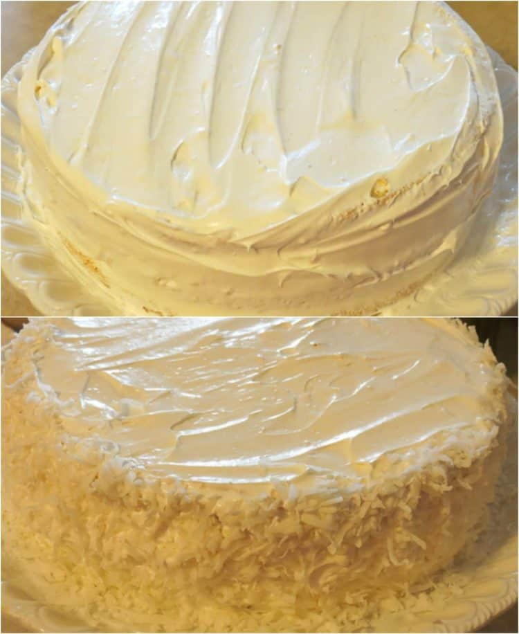 How to prepare layered sponge cake with sweet cream and coconut shavings.