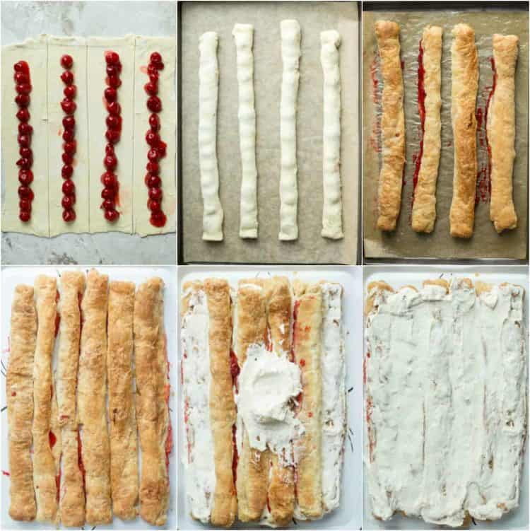 How to make cherry pastry cake with puff pastry sheets, cherry pie filling and sweet cream.