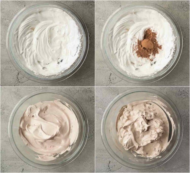Step-by-step collage for chocolate meringue cookies.