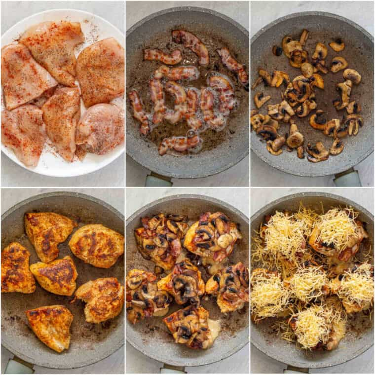 Step by step collage on how to make homemade Alice springs chicken recipe.