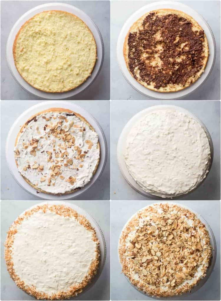 How to assemble a layered coconut cake recipe.