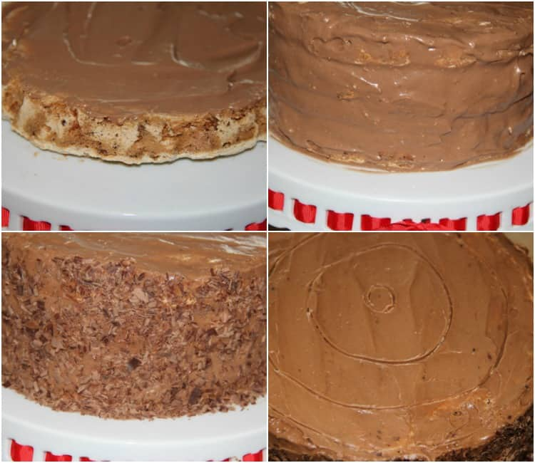 Collage how to assemble a meringue layered cake with chocolate cream.