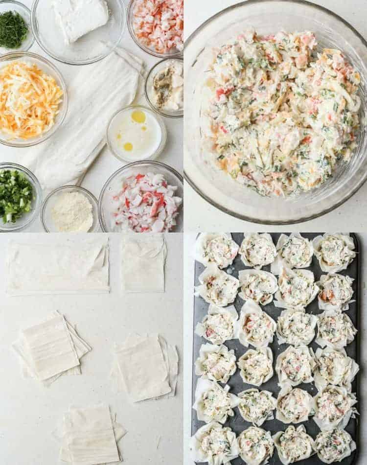 Step by step collage on how to make Seafood Phyllo Cups Appetizers.