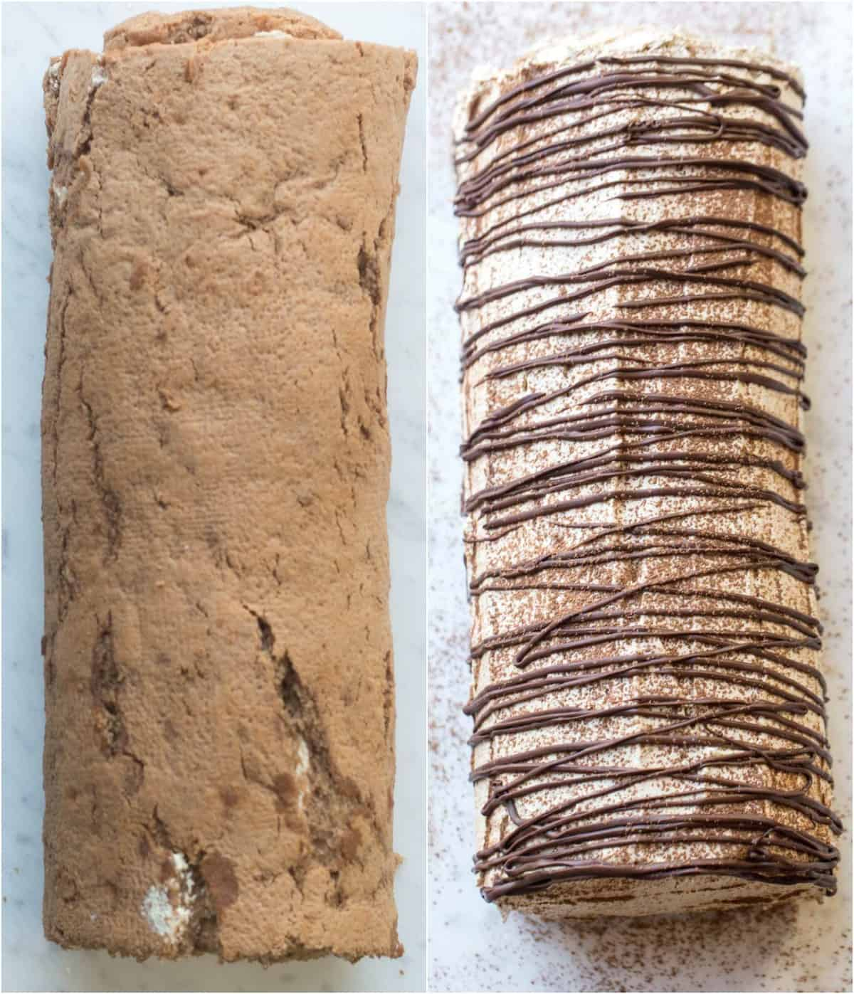 How to assemble this coffee roulade recipe with a coffee cream and chocolate drizzle.