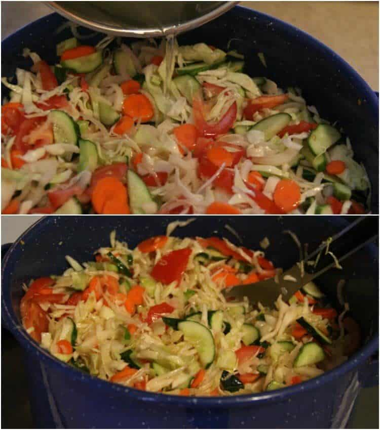 Collage on how to saute the vegetables in a large pot for this canning salad.