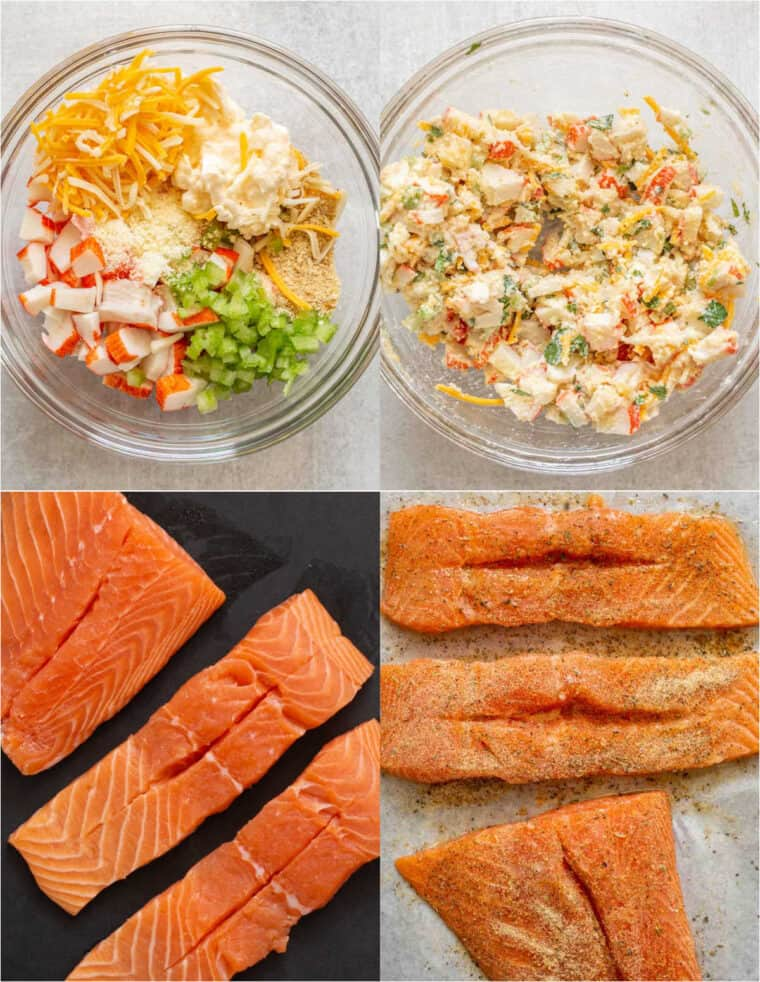 Step by step collage on how to make homemade stuffed salmon recipe.
