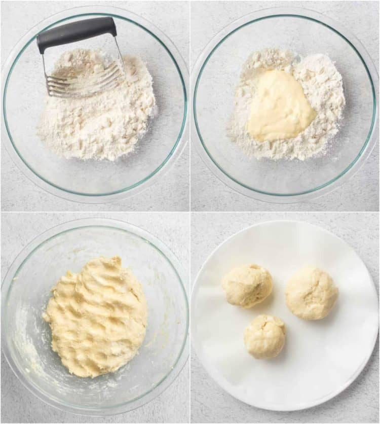 Step by step collage on how to make the dough for this walnut cookie recipe.