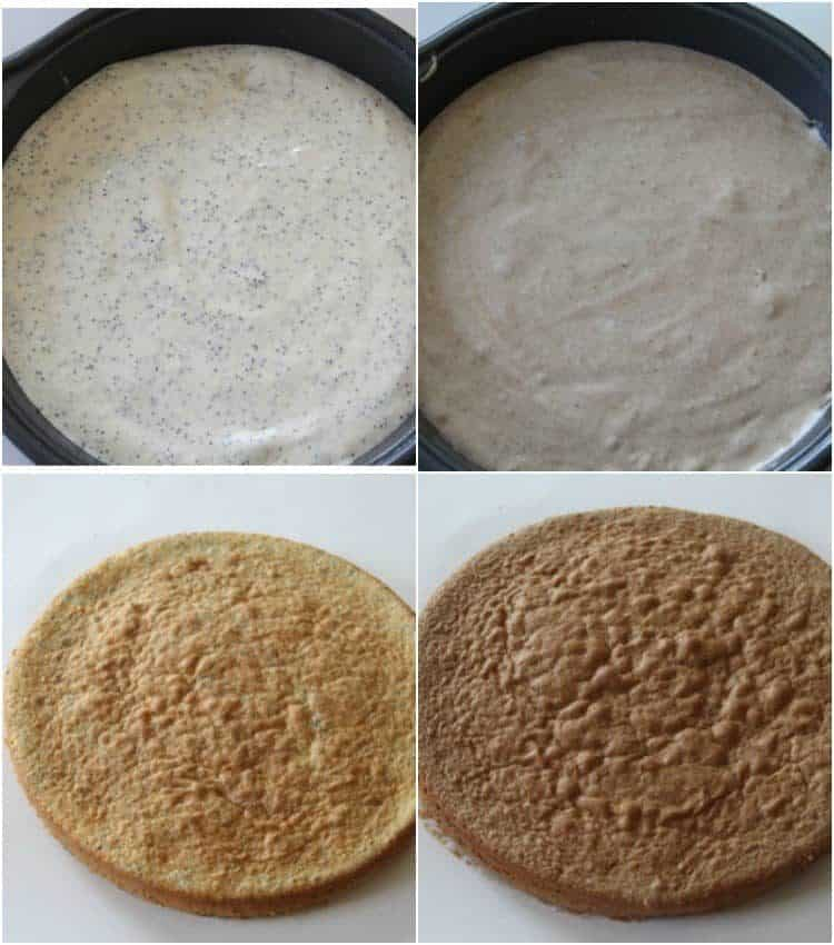 Step by step tutorial on how to prepare the soft and moist poppy seed cake layers.