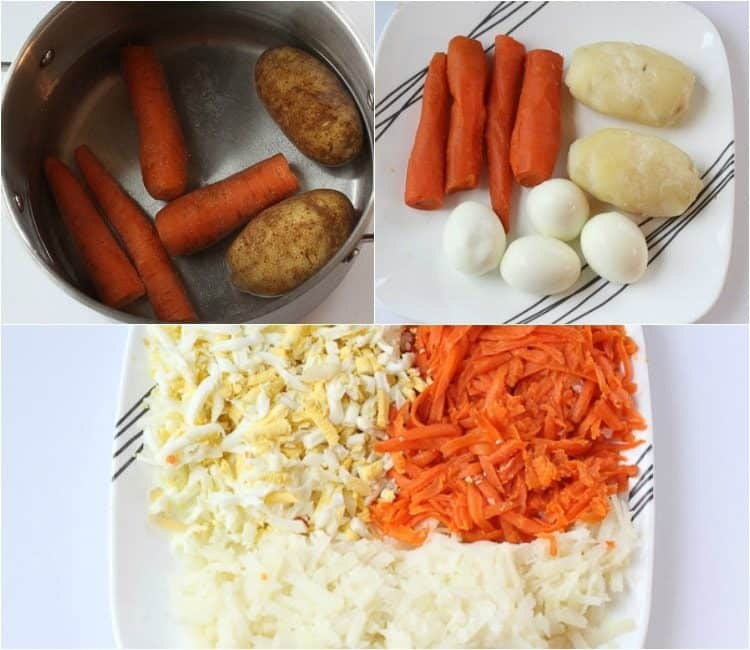 How to prepare the potatoes, carrots, and eggs for this chicken salad.