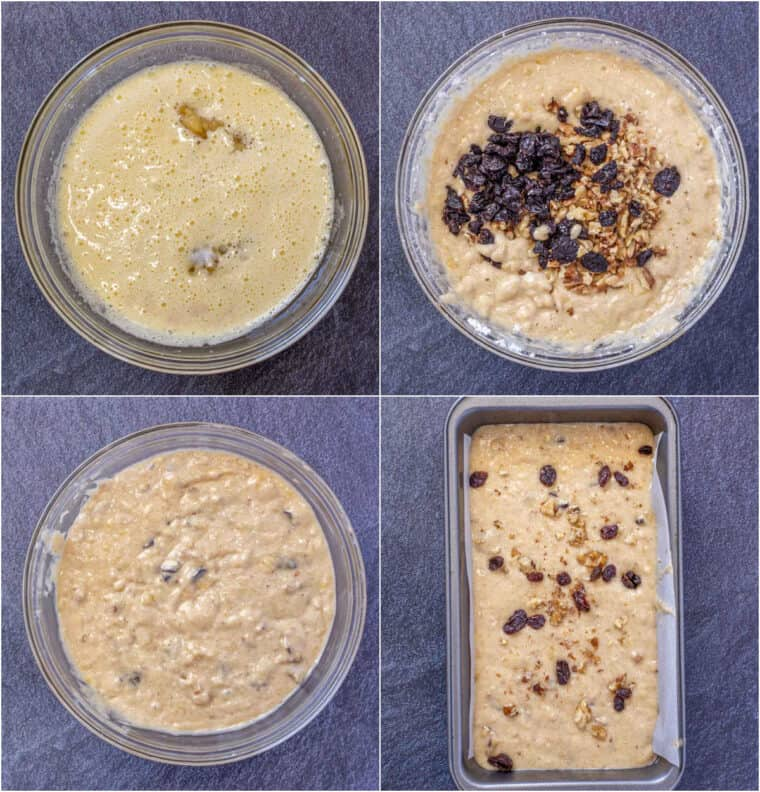 Step by step collage on how to make  homemade banana bread that is soft and moist.