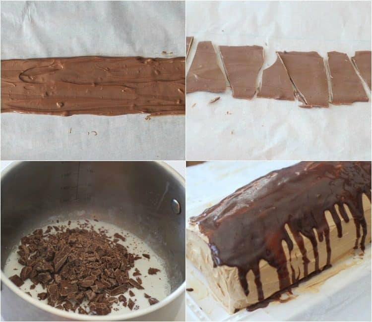 How to make chocolate puree to top this Russian cake roulade recipe.