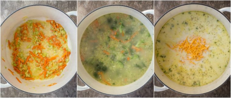 Step-by-step pictures on how to make creamy broccoli cheddar soup recipe with veggies and cheese.