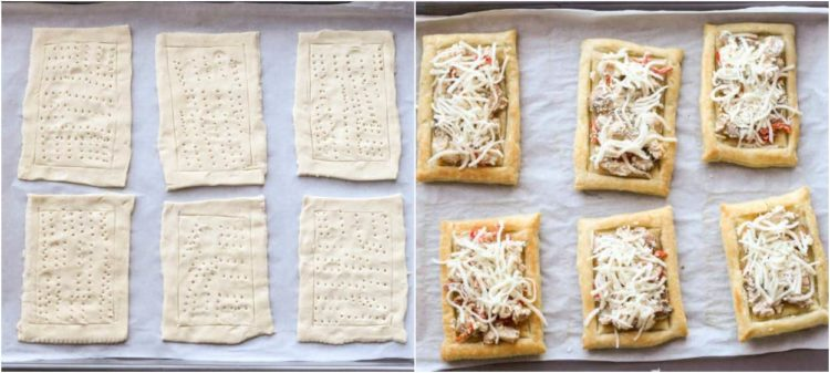 How to make mini chicken tarts with puff pastry and a chicken and cheese mixture.