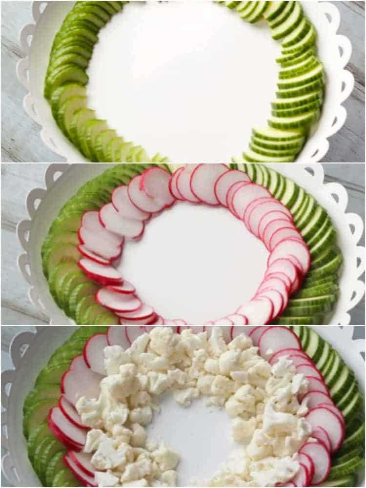 How to lay out this cucumber salad recipe on a platter with radishes and the cauliflower.