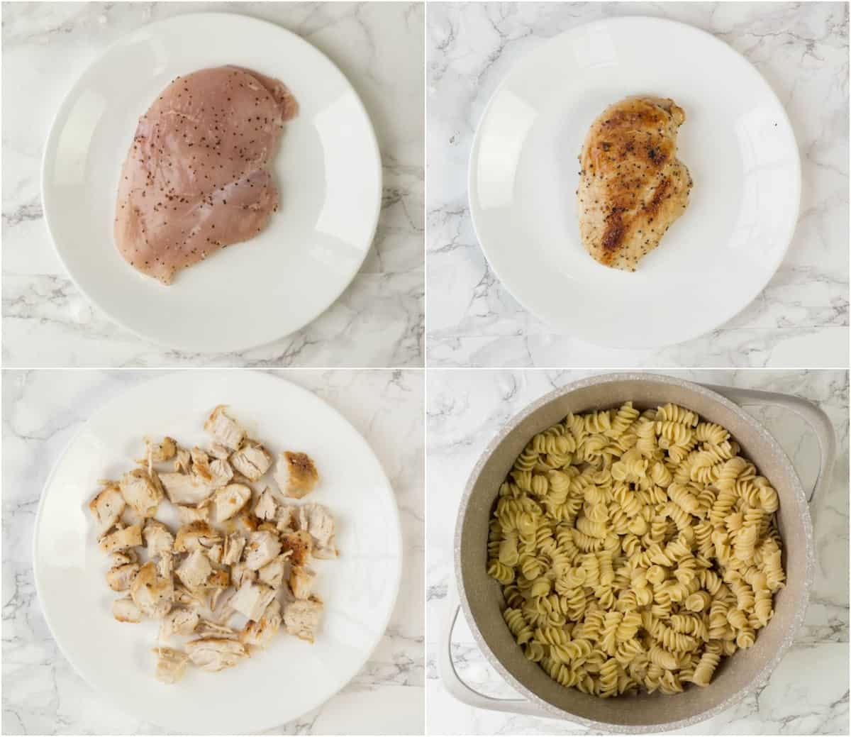How to cook chicken for this simple chicken Ceasar salad with pasta.