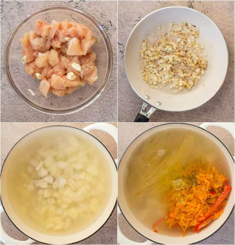 How to make this simple soup recipe with seasoned chicken, sauteed onions, and noodles.