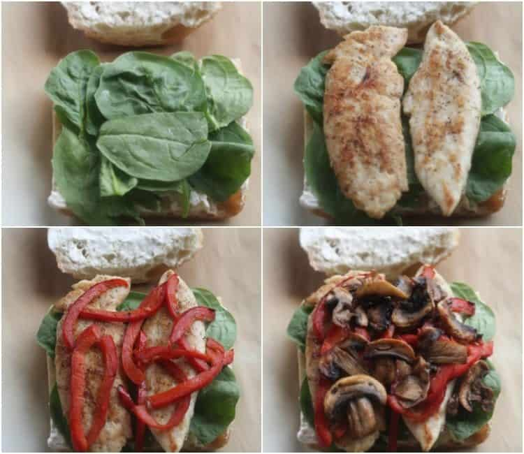 How to make a chicken sandwich recipe collage with step-by-step pictures.