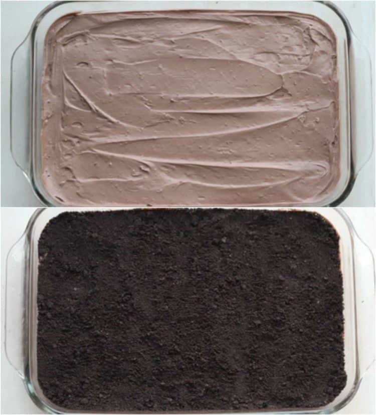 How to assemble chocolate pudding with crushed oreos.