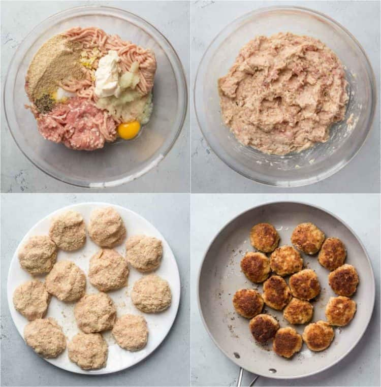 Step by step collage recipe for how to make pork patties (Ukrainian kotleti).