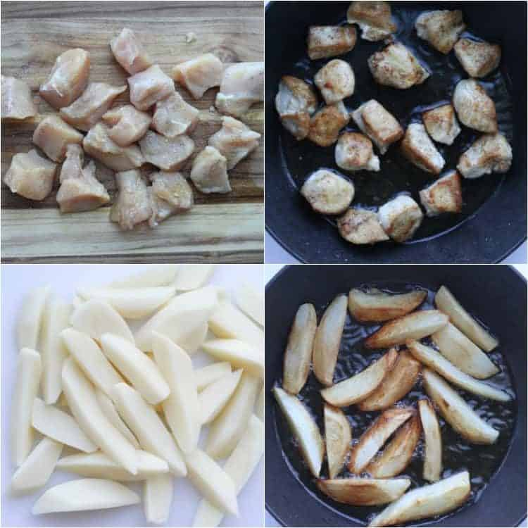 How to prepare chicken and potatoes for pan fried potatoes and meat recipe.