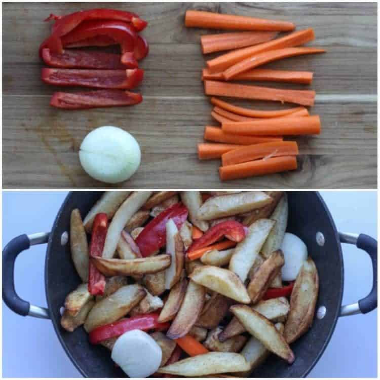 How to prepare pan fried potatoes with carrots and red pepper.