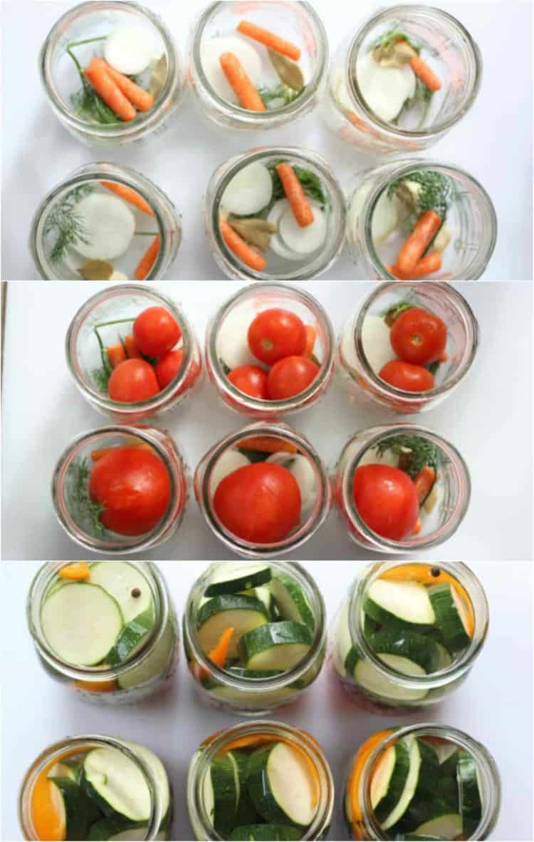 A step by step collage of how to fill the mason jars with the veggies.