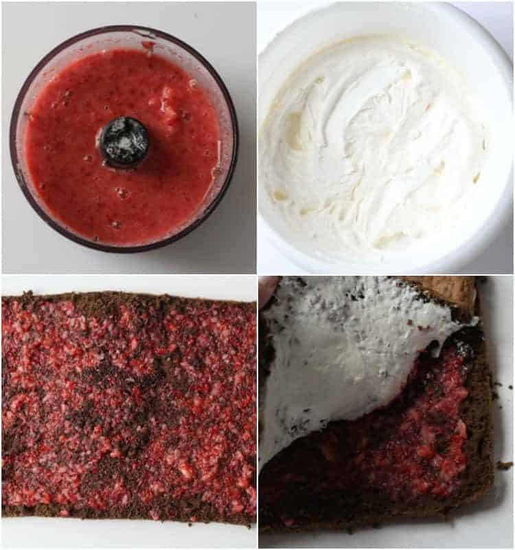 How to prepare the strawberry puree and sweet cream for this moist chocolate cake recipe.