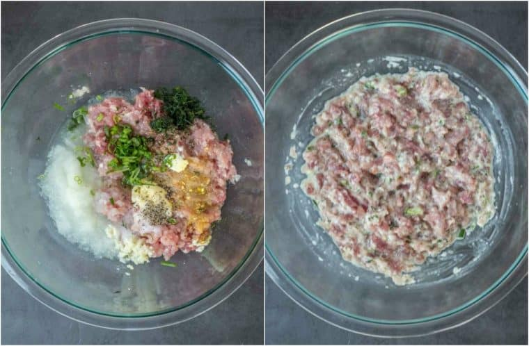 Step by step collage on how to make the meat filling or piroshki.