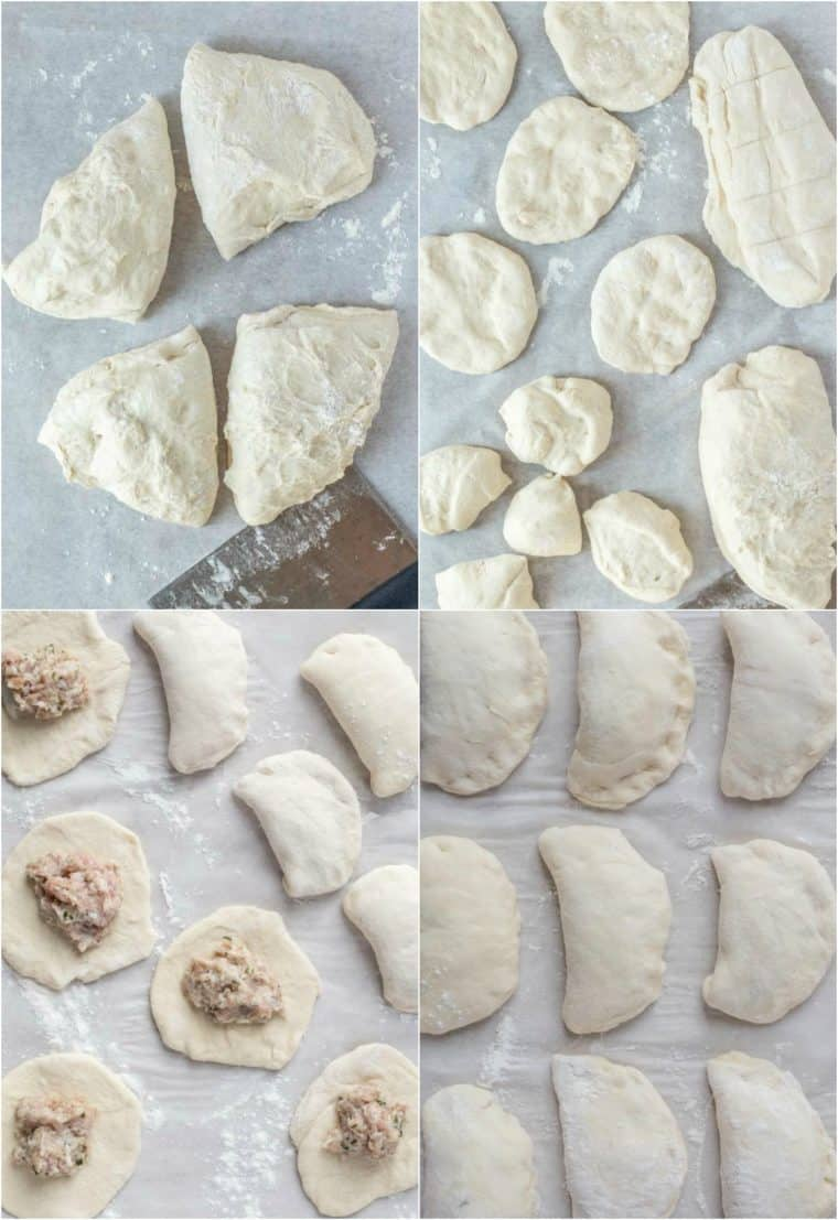 Step by step collage on how to assemble meat piroshki using the dough and meat filling.