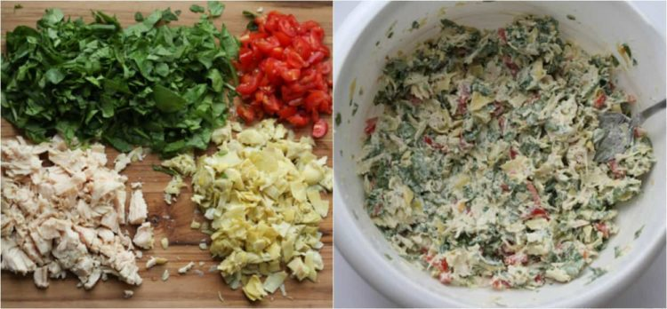 How to make chicken spinach artichoke canapes.