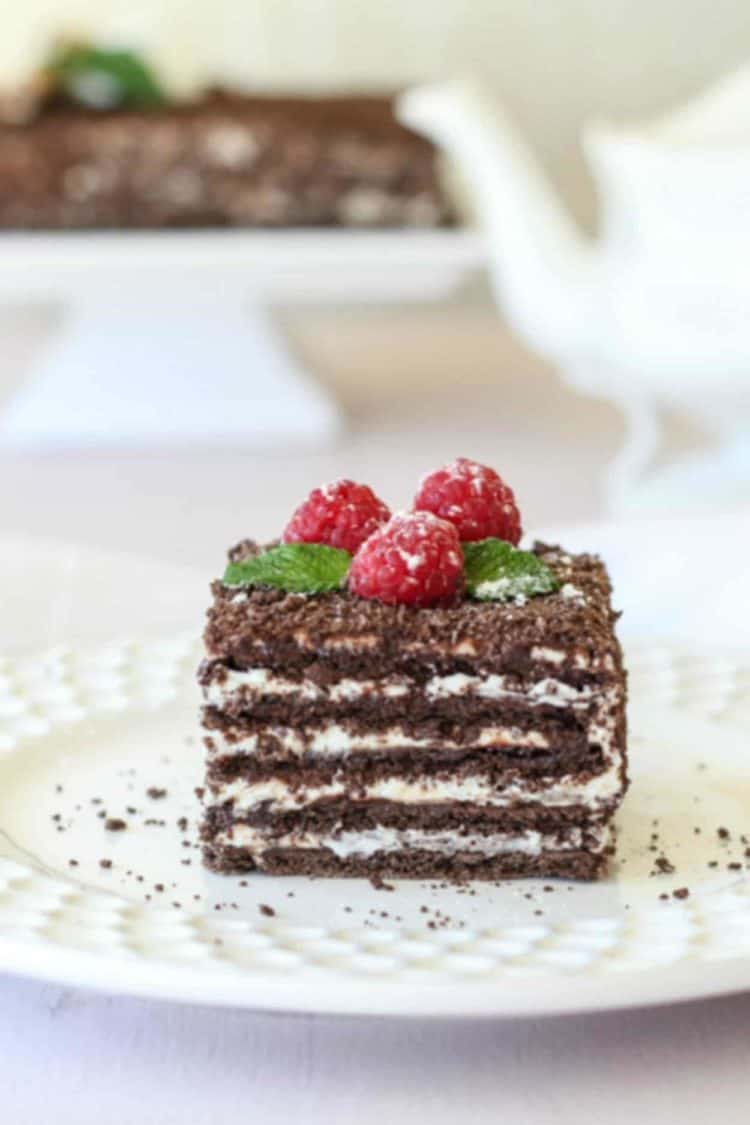 No-bake chocolate spartak cake recipe on a plate with raspberries and fresh mint.