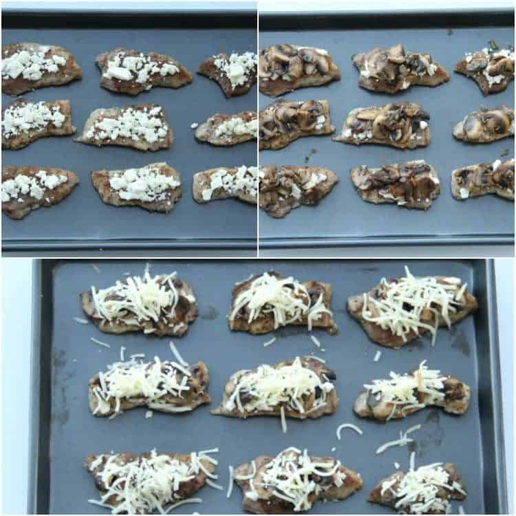 How to prepare pork for baking, top pork with feta cheese, mushrooms and cheese.
