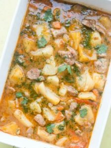 Recipe for Russian Baked Braised Pototoes with meat and vegetables. ValentinasCorner.com