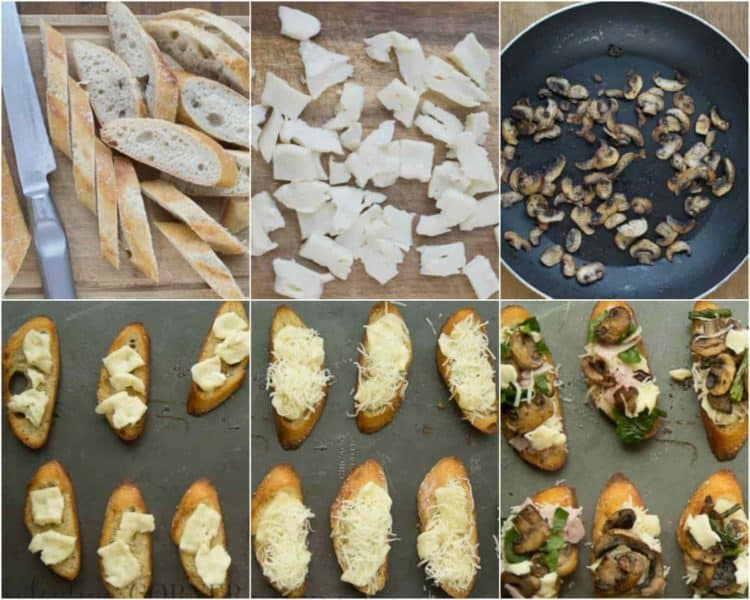 How to prepare these brie mushroom canapes. How to toast a baguette. How to sauté mushrooms. How to assemble the canapes.