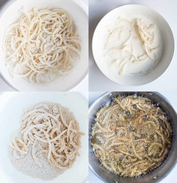 Step by step collage how to make fried onions into onion strings.