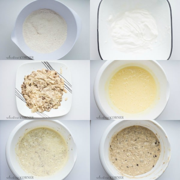 Step by step pictures of how to make banana bread bundt cake.