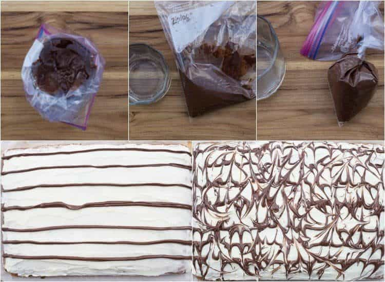 How to make the chocolate swirls on these banana zucchini cake bars.