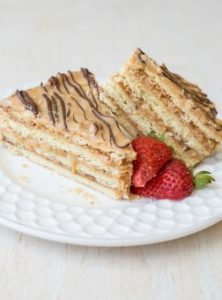 Layered Snickers Cake Recipe. ValentinasCorner.com
