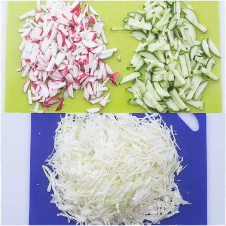 How to cut ingredients for this cabbage cucumber radish salad recipe.
