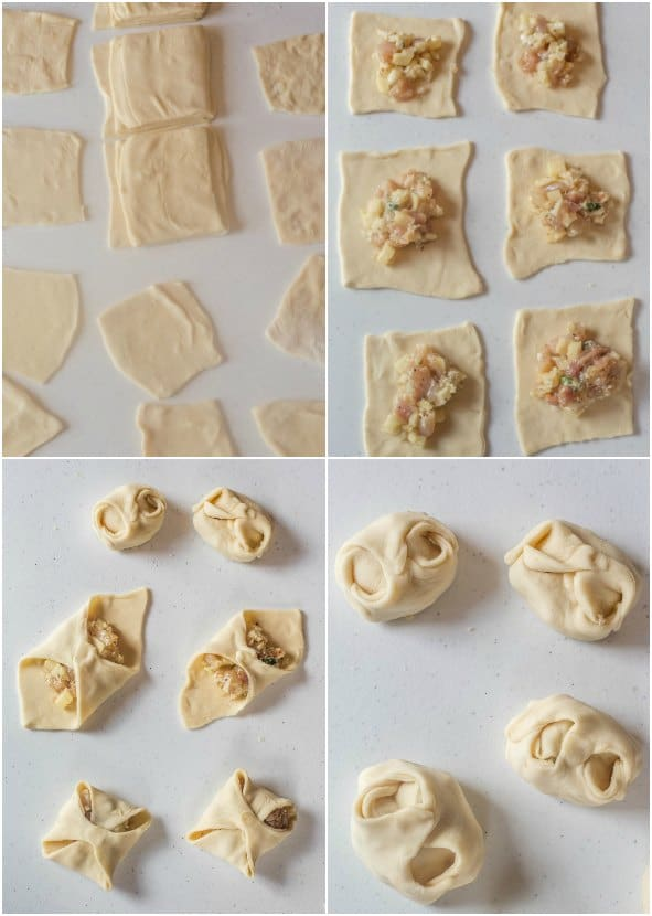 Step by step collage on how to add chicken filling on the dough for manti dumplings.