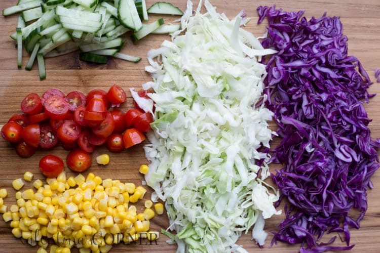 How to make this corn tomato red cabbage salad recipe.