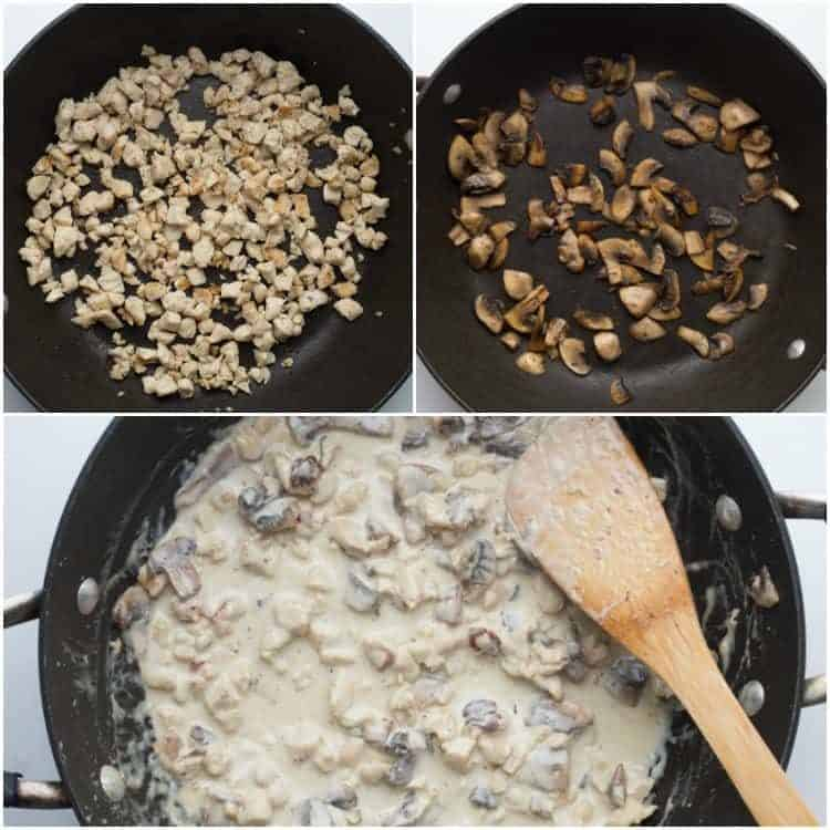 How to make the Alfredo sauce, cook the chicken and sauté the mushrooms.