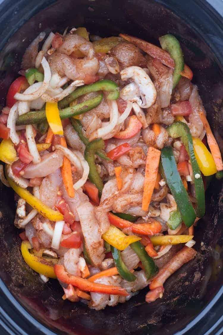 Slow Cooker (Crock-Pot) Chicken Fajitas in a crock-pot.