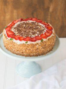 Layered Chocolate Cake with Strawberries and Cream
