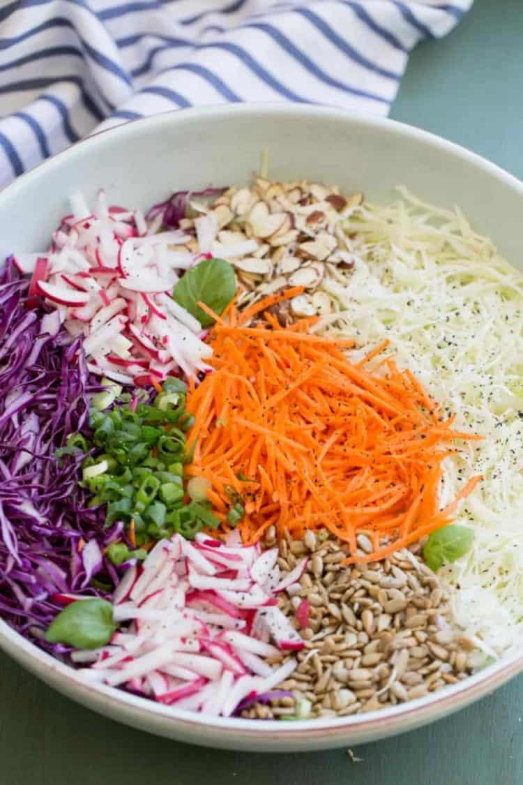Red cabbage salad in a bowl unmixed.